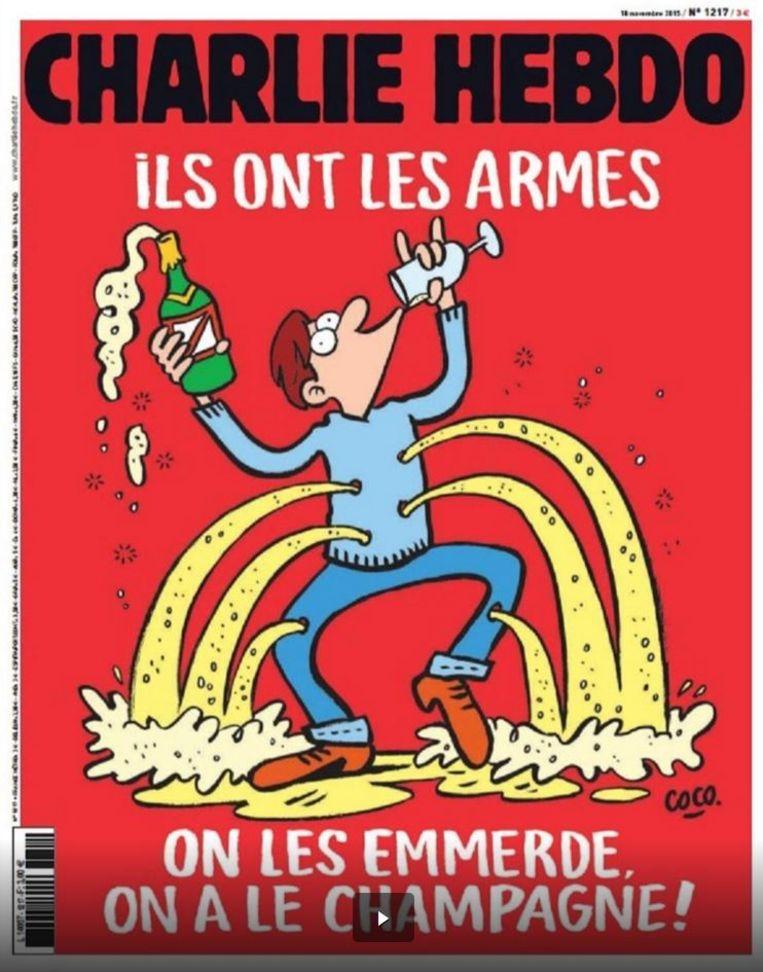 De nieuwe cover van satirisch blad Charlie Hebdo.
