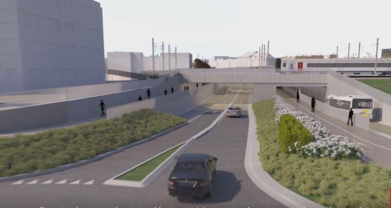 Een zicht op de wegtunnel en de bus- en fietstunnel, vanaf de rotonde Panorama.