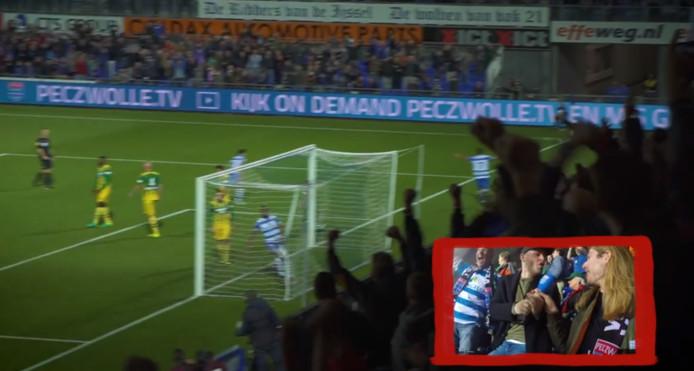 De reacties na het winnende doelpunt van Youness Mokhtar bij PEC Zwolle - ADO Den Haag (2-1).