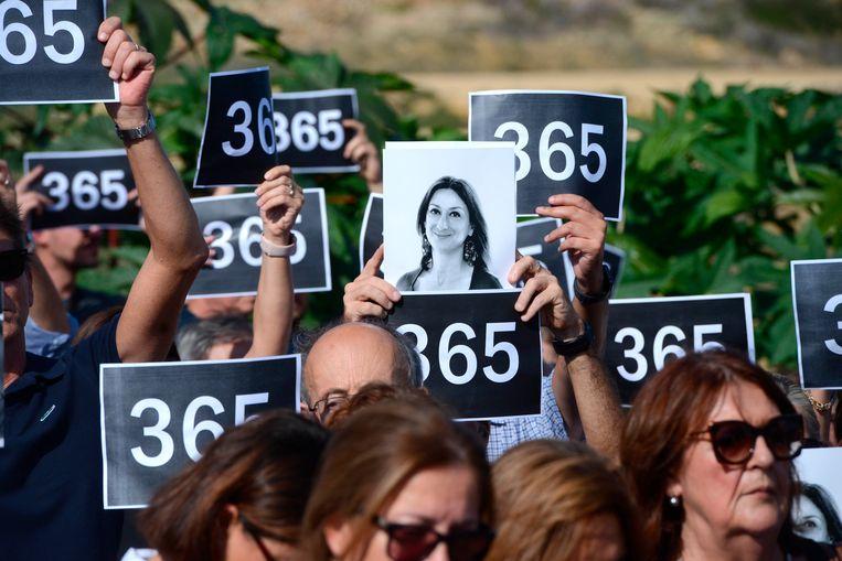 Herdenking op 16 oktober van dit jaar, precies een jaar na de moord op journalist Daphne Curuana Galizia.  Beeld AP