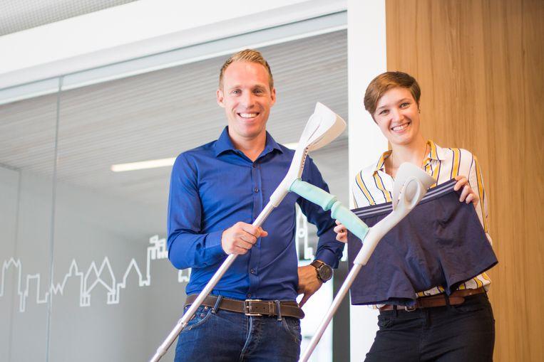 Hans Versmissen (35), zaakvoerder van Entusia en Marie Van den Broeck (25), zaakvoerder van My Add On.