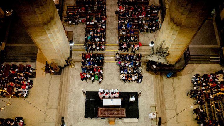 Kerkdienst in de Sint Bavo in Haarlem Beeld anp