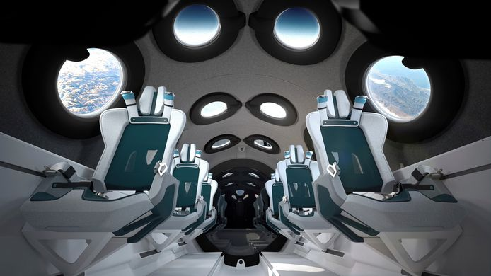 L'intérieur de la cabine du vaisseau spatial en cours d'essai de Virgin Galactic. Celui-ci, en cours d'essai, a été baptisé SpaceShipTwo.