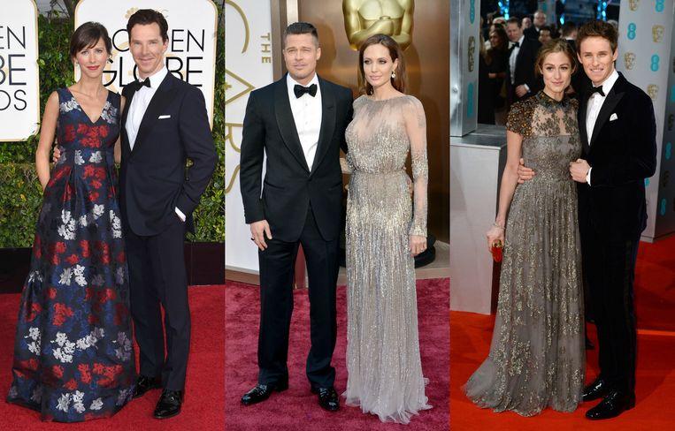 Benedict Cumberbatch en Sophie Hunter, Brad Pitt en Angelina Jolie en Eddie Redmayne en Hannah Bagshawe