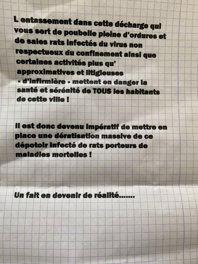 Lettre de menaces à l'encontre d'une infirmière indépendante de Dampremy (Charleroi).