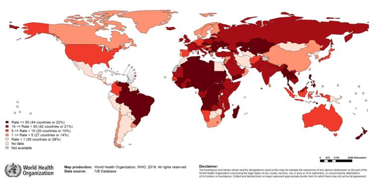 Mazelen per 100 duizend inwoners. Beeld WHO