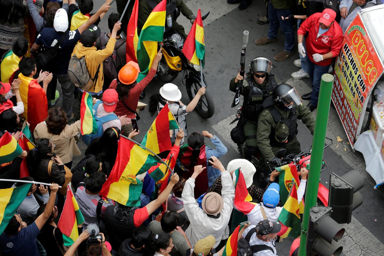Een demonstratie in La Paz, Bolivia, vorige week.
