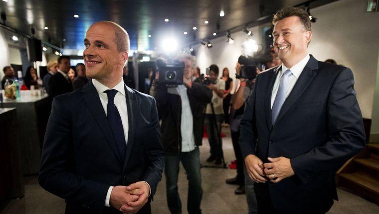 Diederik Samsom en Emile Roemer in de Rode Hoed in afwachting van het verkiezingsdebat. Beeld anp