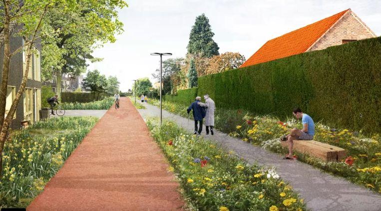 De ontwerpers en de gemeente willen de spoorwegbedding opwaarderen als groene, sociale verbinder voor Moerbeke.