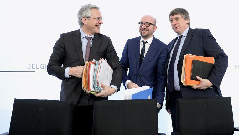 Kris Peeters, premier Charles Michel en Jan Jambon.