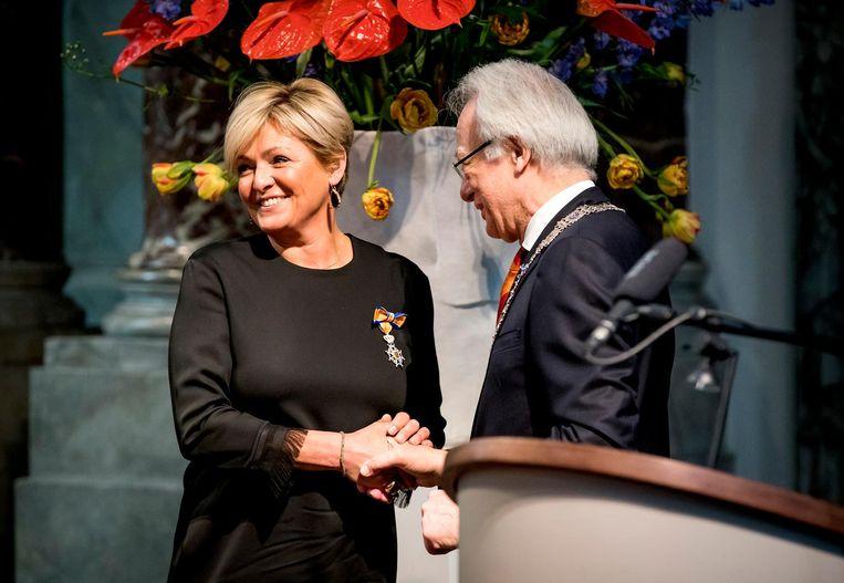 Caroline Tensen en waarnemend burgemeester Jozias van Aartsen. Beeld anp