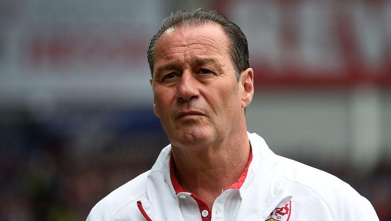 Huub Stevens als trainer van VfB Stuttgart Beeld epa
