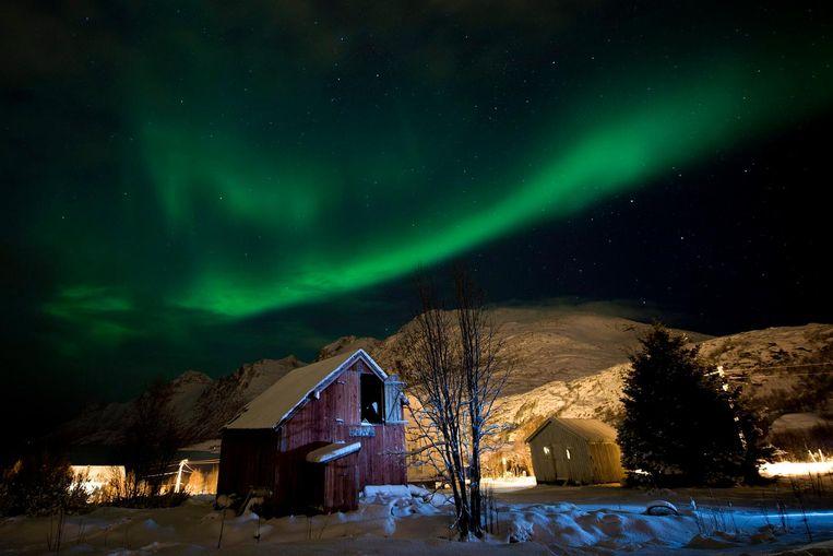 Het noorderlicht in een stadje vlakbij Tromsø. Beeld EPA
