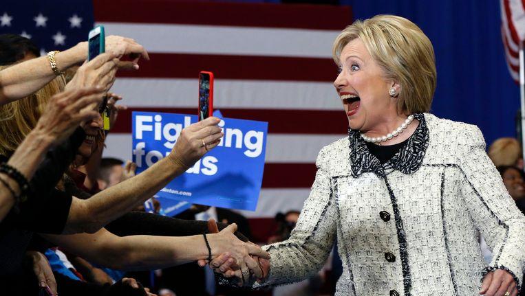 Hillary Clinton viert haar overwinning. Beeld ap