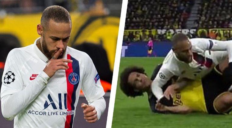 Neymar scoorde, maar kwam ook goed weg toen hij Witsel een elleboog(je) verkocht.