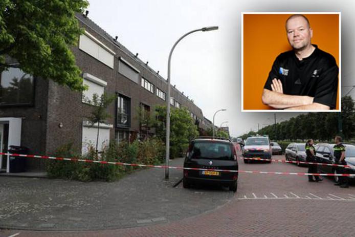 De straat waar darter Raymond van Barneveld en zijn vrouw Silvia wonen, was afgezet met politielinten.
