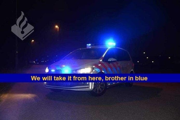Collega's van Jeroen bij politie Helmond plaatsten deze foto op Facebook.
