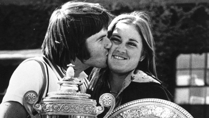 Jimmy Connors en Chris Evert in 1974 als verloofden.