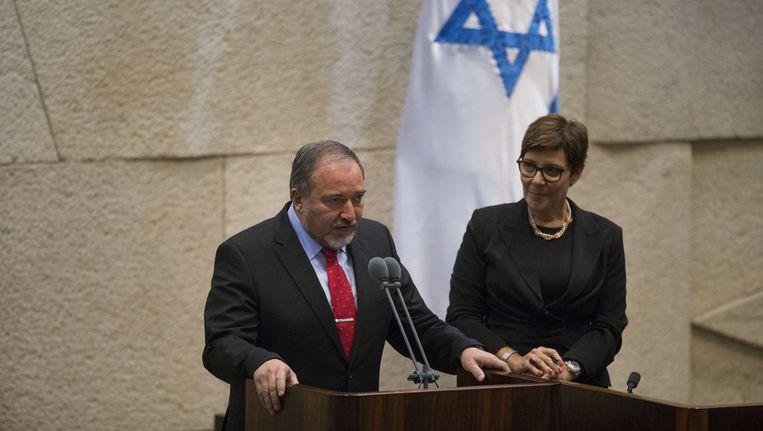 Avigdor Lieberman: opnieuw ingezworen als minister van Buitenlandse Zaken in Jeruzalem. Beeld getty