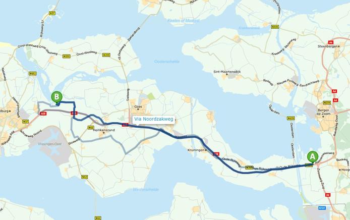 De ANWB is de enige routeplanner die toeristen met bestemming Waterpark Veerse Meer door Lewedorp leidt.