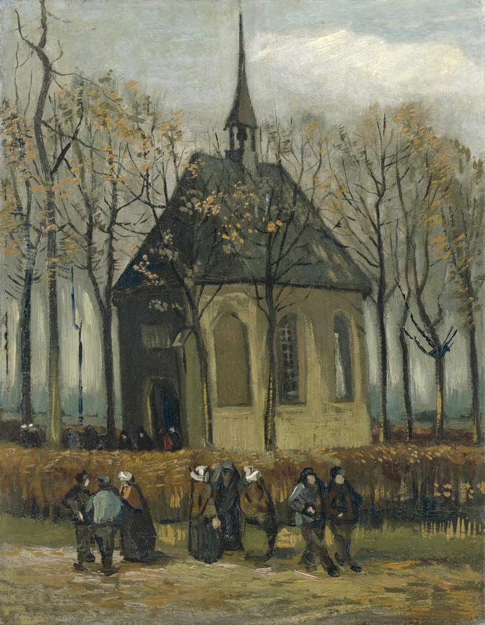 Het doek 'Het uitgaan van de Hervormde Kerk te Nuenen' (1884/85) van Vincent van Gogh.