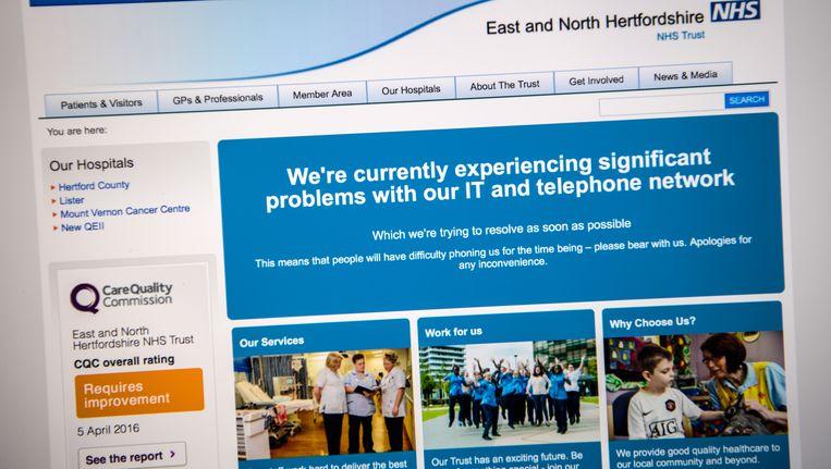 Bezoekers van de website van de NHS vertelt bezoekers dat de organisatie is getroffen door een cyberaanval. Beeld getty