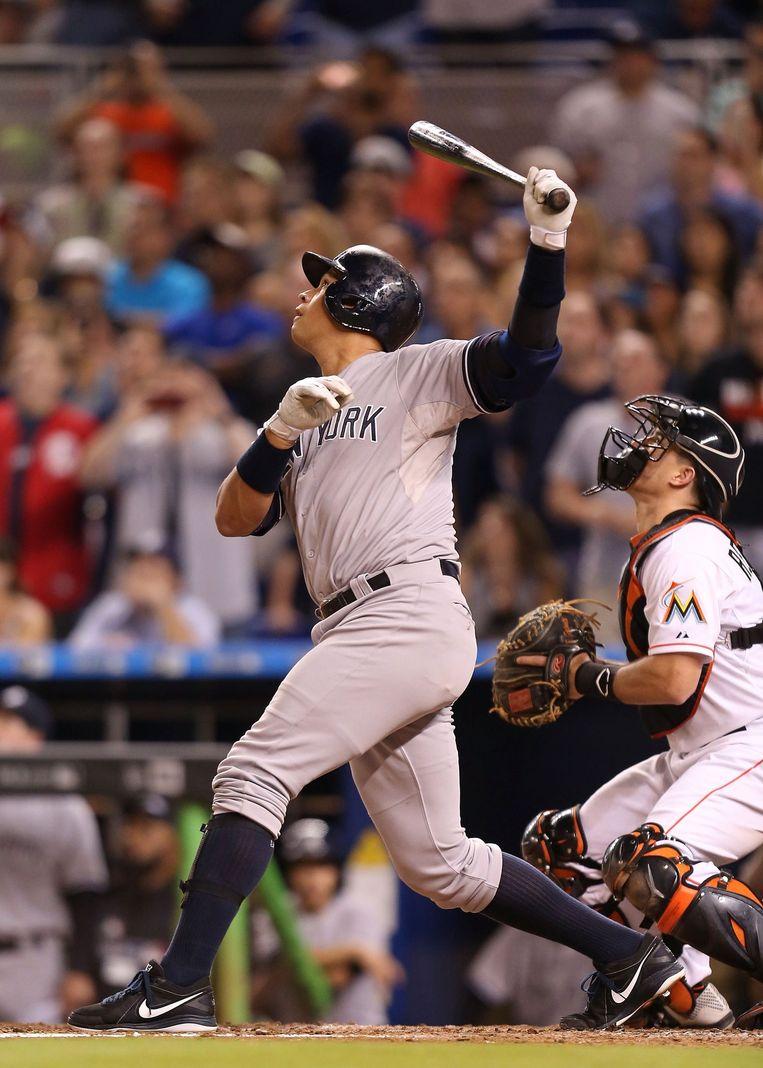 Alex Rodriguez van de Yankees maandag tijdens zijn enige slagbeurt tegen de Marlins. Beeld afp