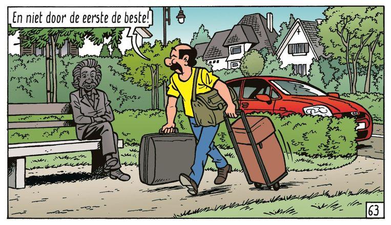 Kiekeboe begroet het standbeeld van Einstein.