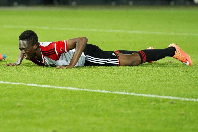 Feyenoorder Terence Kongolo op het natuurgras in De Kuip. Beeld anp