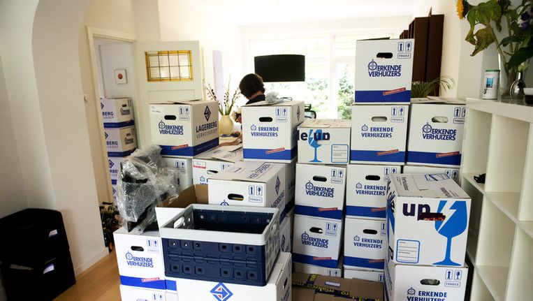 Stapels verhuisdozen in een woonkamer. Beeld null
