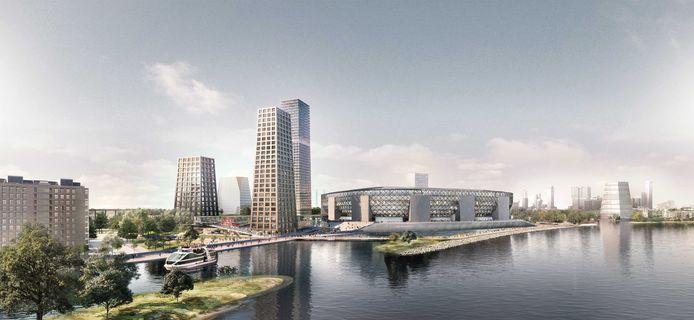 Feyenoord City mét het nieuwe stadion. Veiligheid en geluidshinder zijn nog punten van aandacht.