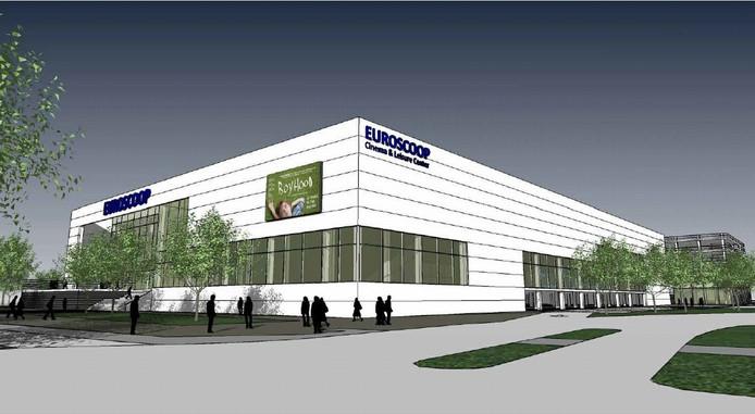 Een schets van het filmtheater dat Euroscoop had willen bouwen in Arnhem-Zuid.