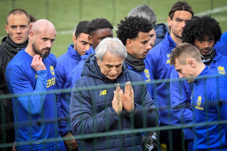 Halilhodzic met zijn spelers  van Nantes.