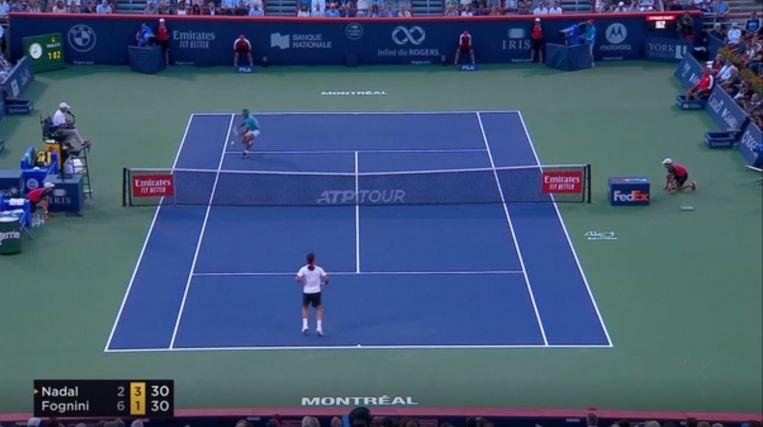 De knappe rally tussen Nadal en Fognini ging viraal.