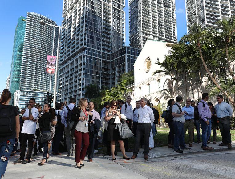 Ook in Miami werden kantoorgebouwen geëvacueerd.