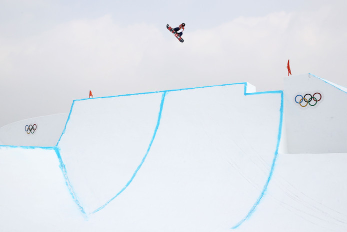 Snowboarder Hiroaki Kunitake op het onderdeel slopestyle.