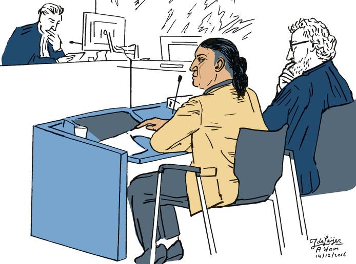 Pat R. tijdens het hoger beroep dat hij bij het gerechtshof instelde tegen zijn veroordeling voor de moord op kickbokser Volkan Düzgün in Veghel.