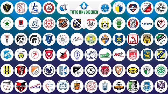 Alle amateurvoetbalclubs in het KNVB-bekertoernooi van 2018/2019.