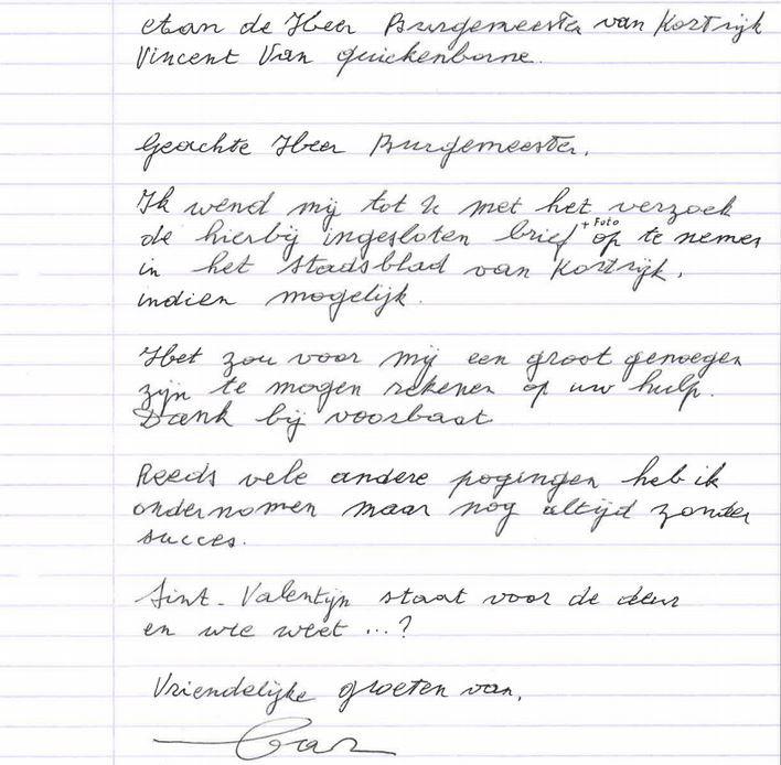 De open brief die hij nu naar burgemeester Q schreef .