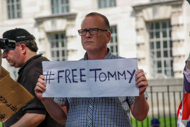 Demonstratie voor de vrijlating van Tommy Robinson in Londen. Beeld Getty