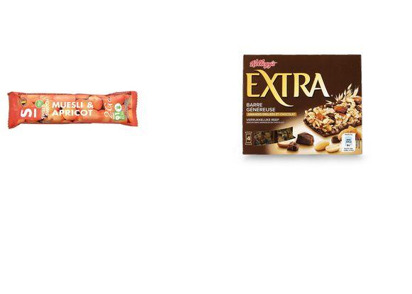 De ene mueslireep is de andere niet: de Sweet-Switch mueslireep abrikoos (links) wordt als best beoordeeld, terwijl de Special K graanreep een C-score krijgt.