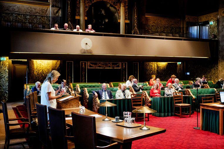 Minister Kajsa Ollongren (Binnenlandse Zaken) in een eerder debat met de Eerste Kamer over de intrekking van de wet raadgevend referendum. Beeld ANP