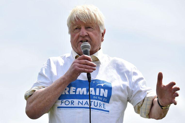 Stanley Johnson, vader van Brexit-voorstander Boris Johnson, tijdens een bijeenkomst van Brexit-tegenstanders. Beeld Ben Stansall / AFP