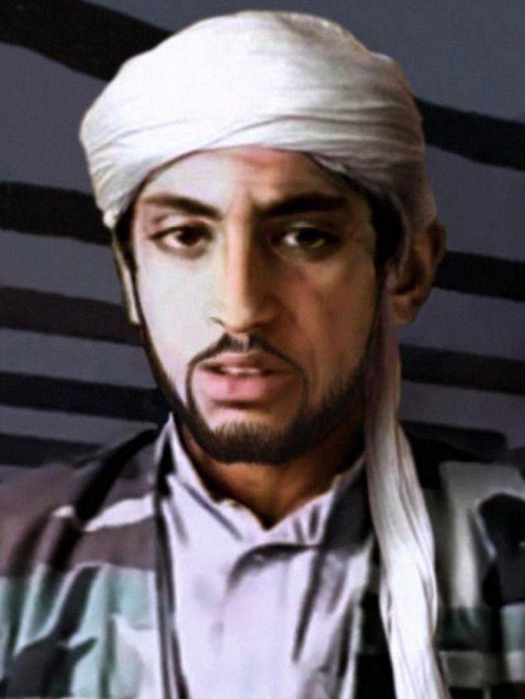 Zo zou Hamza bin Laden er nu uit zien, volgens een door CBSnews digitaal bewerkte jeugdfoto. Beeld CBSnews