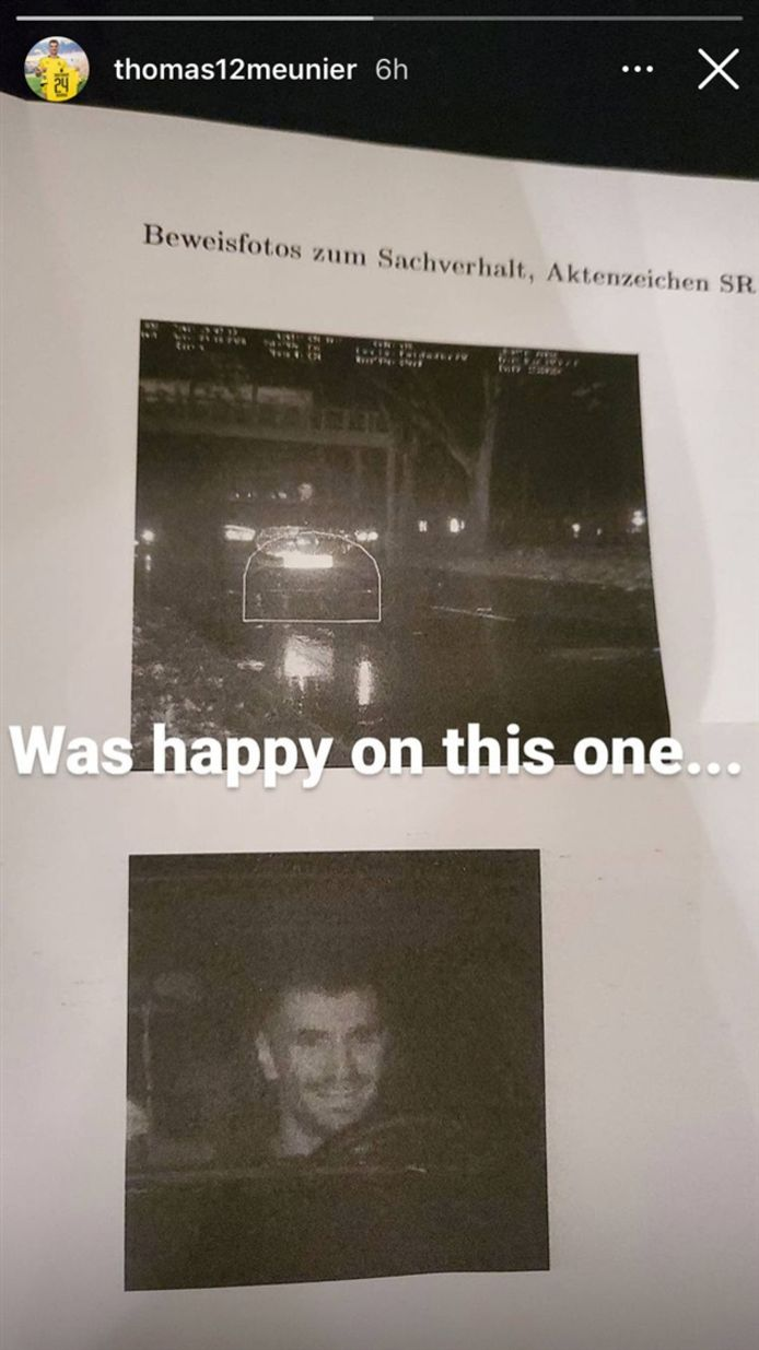Thomas Meunier a été flashé au volant de sa voiture.