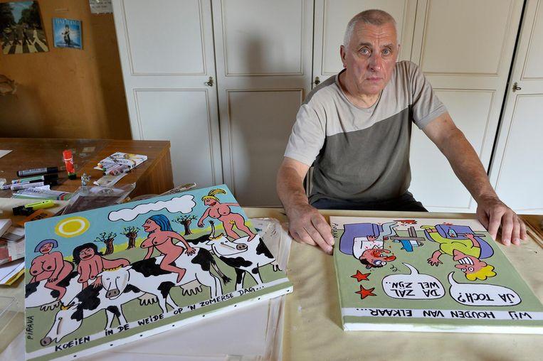 Leon Van de Velde, bekend als cartoonist Pirana, met enkele werken.
