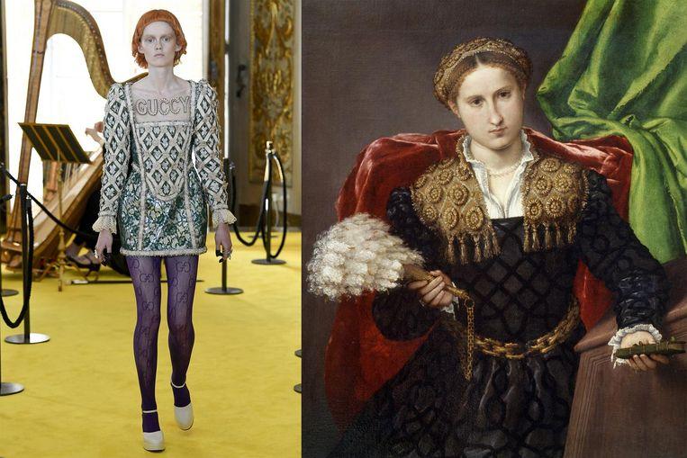 Links: een model van Gucci. Rechts: een portret van de nouveau riche. Beeld