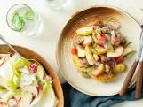 Braadworst met appel, sjalot en rozemarijn