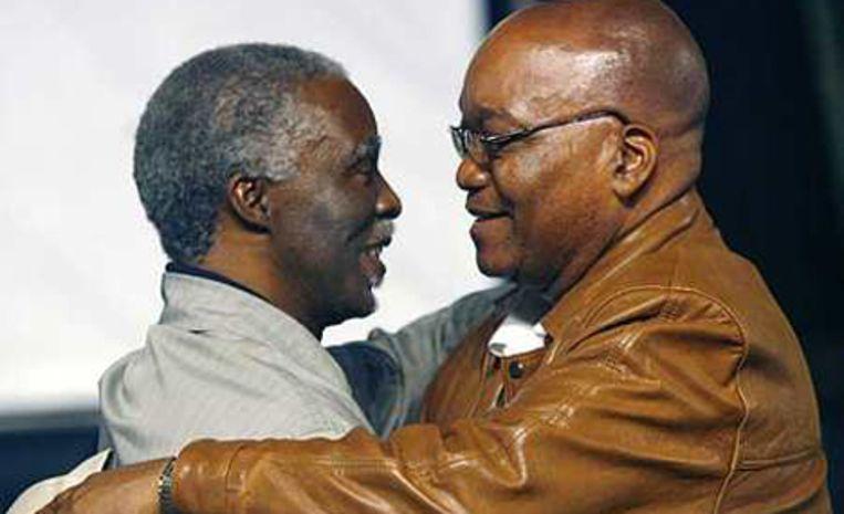 De Zuid-Afrikaanse president Thabo Mbeki, links, en ANC leider Jacob Zuma. Archieffoto AP/Jerome Delay Beeld