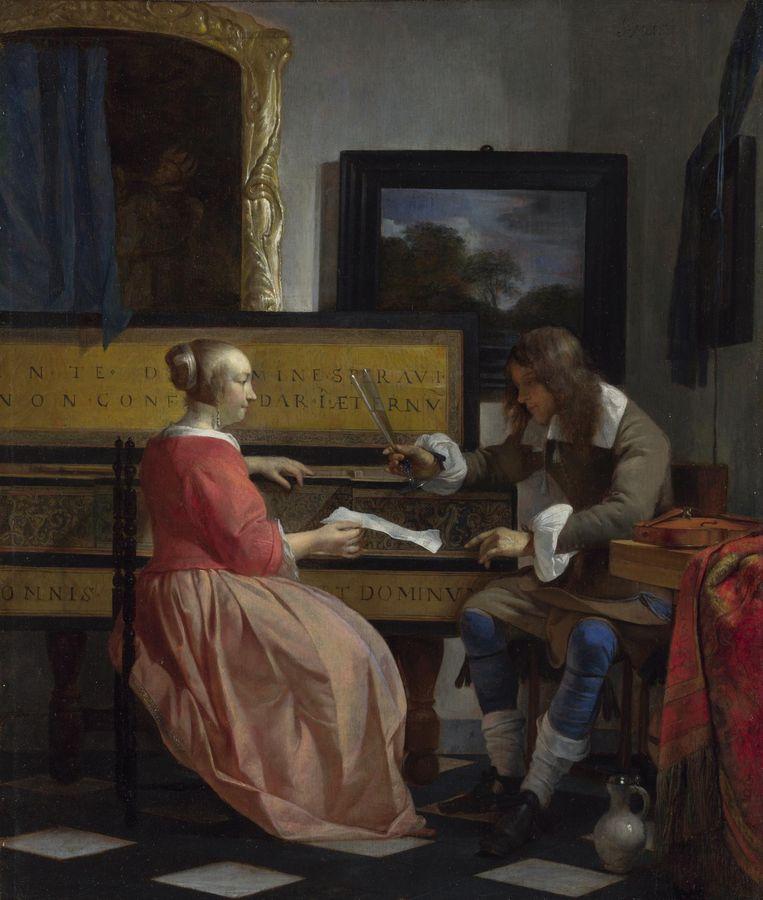 Man en vrouw bij een virginaal van Gabriel Metsu (ca. 1665) Beeld Rijksmuseum